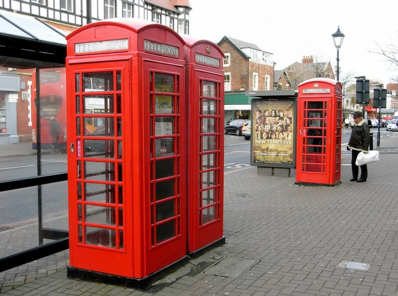 Pair And Single K6 Telephone Kiosks Outside Pizza Express