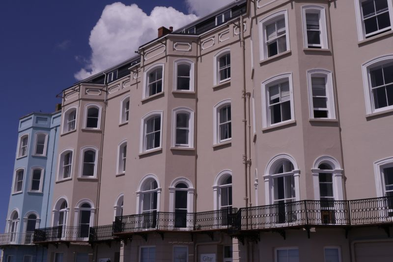 The Giltar Hotel and area railings, Tenby, Pembrokeshire on